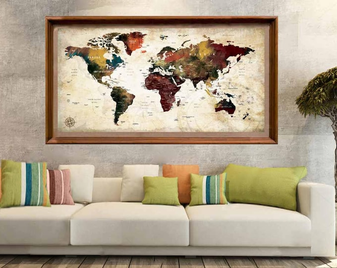 Large World Map Poster,World Map Print,World Map Decal,World Map Push Pin,Educational Map,Watercolor Map Art,World Map Poster Print,Map Art