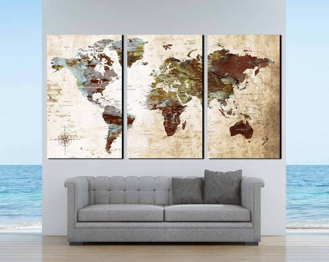 Large world map, world map art, world map canvas, world map wall art, world map print push pin map, travel map, world map abstract, map art