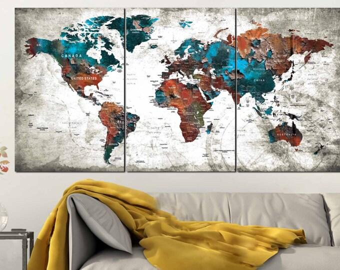 Large World Map Push Pin Canvas Panels,World Map,World Map Wall Art,World Map Canvas,World Map Art,World Map Print,World Map Canvas Print,