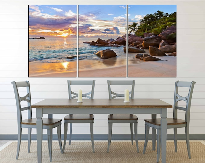 Tropical beach sunset art, beach wall art, beach canvas print, sunset wall art, sunset art print, sunset canvas art, sunset print large