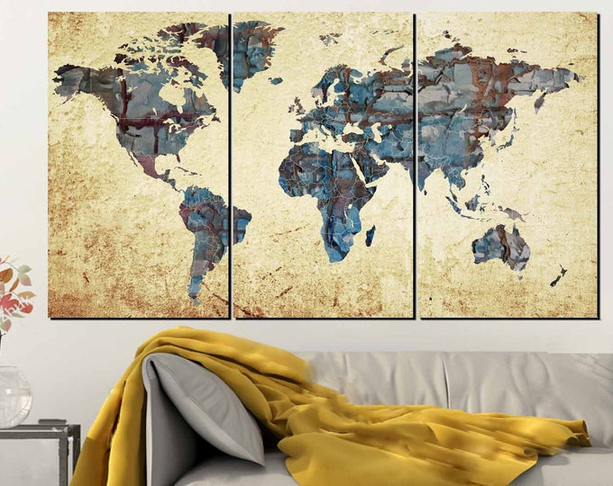 Large World Map,World Map Abstract, Map Wall Art, World Map Painting,World Map Print,Map Poster,Map Canvas,Push Pin,Hand Made,Decorative Art