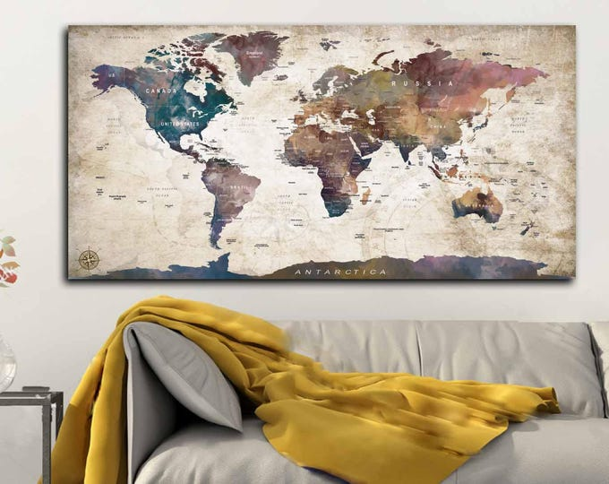 World Map Canvas Watercolor Art,World Map Push Pin,World Map Travel,World Map Art,World Map Wall Art,World Map Print,Push Pin Map Canvas Art