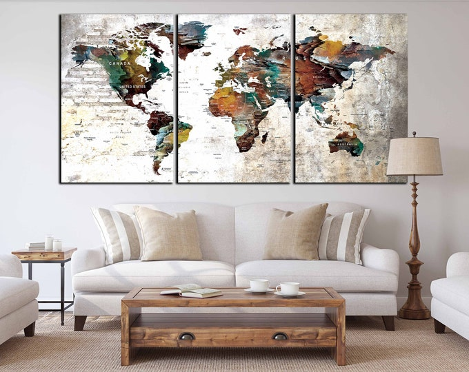 World Map Wall Art,World Map Canvas,World Map Art Print,Large World Map,World Map Abstract,Red World Map Art,World Map Push Pin,Travel Map