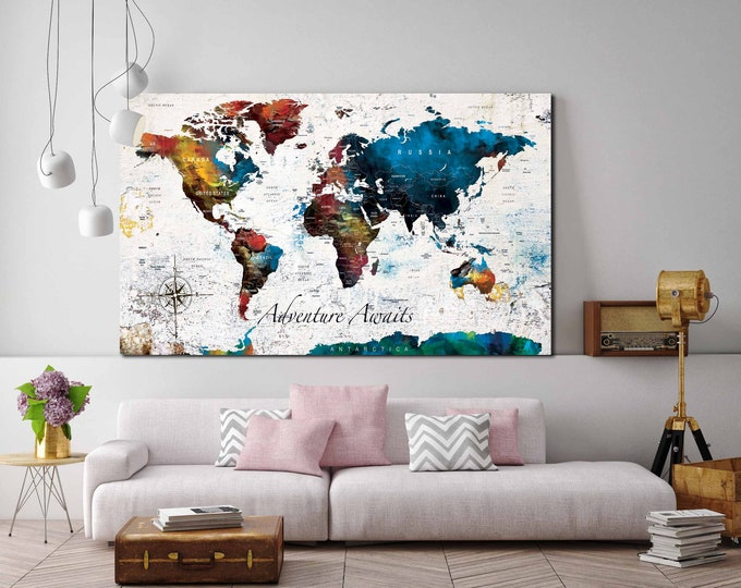 World Map, world Map canvas print, large world map, push pin map, world map art, world map blue, world map art print, world map print, map