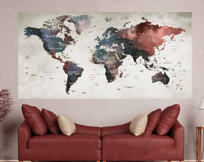 World Map Poster,World Map Wall Decal,World Map Print,World Map Art Print,World Map Watercolor,Push Pin World Map,World Map Sticker,Map Art