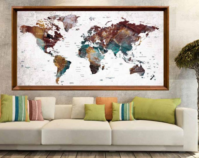 Large World Map Poster Print,World Map Wall Poster,World Map Decal,Large World Map Art Poster,World Map Push Pin,Push Pin Map Art,Travel Map