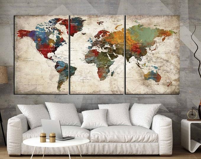 World Map Wall Art 3 Panel Canvas Art,World Map Large Canvas Panels,World Map Art,World Map Canvas,World Map Abstract Art,World Map Push Pin