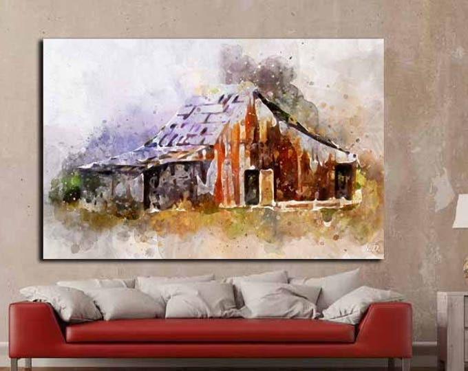 Old Barn Watercolor Art,Old Barn Canvas Art,Old Barn Watercolor Poster,Barn Canvas Art,Barn Watercolor Wall Art,Watercolor Wall Art,Decor