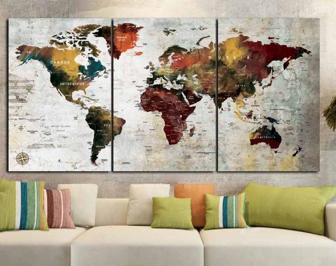 Large 3 Panel World Map Canvas Art,World Map[,World Map Wall Art,World Map Canvas Panels,World Map Watercolor Art,World Map Large Panels,Map