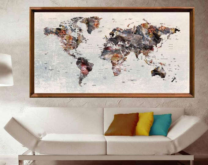 Push Pin World Map,Push Pin Map Wall Art,Push Pin Map,Travel Map,Push Pin Map Large,Push Pin Map Print,Push Pin Map Poster,Push Pin Map Deca