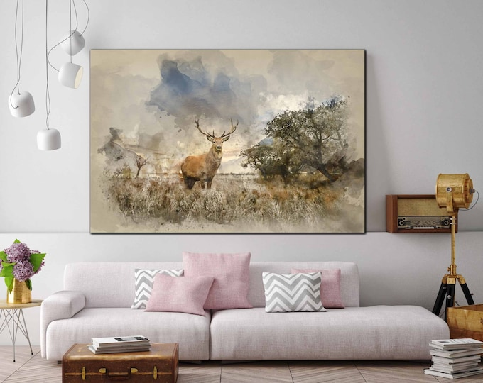 Deer Art,Deer Wall Art,Large Deer Watercolor Art, Deer Art Print,Deer Canvas Print,Deer Painting,Deer Canvas Panel,Animal Deer Wall Art,