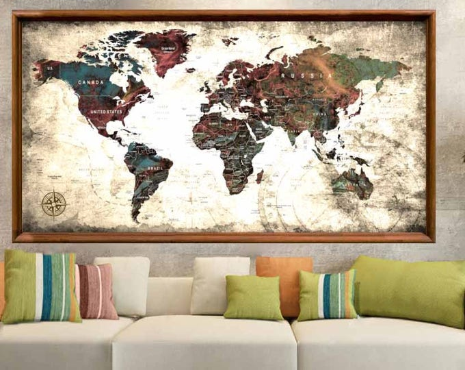 Large World Map Vintage Poster Print,World Map Poster,World Map Wall Art,World Map Push Pin,Push Pin Map Poster,Travel Map Poster,World Map