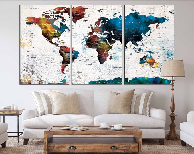 World Map Wall Art,World Map Push Pin, World Map Canvas,World Map Art,World Map Watercolor,World Map Print,Travel Map,Large World Map Canvas
