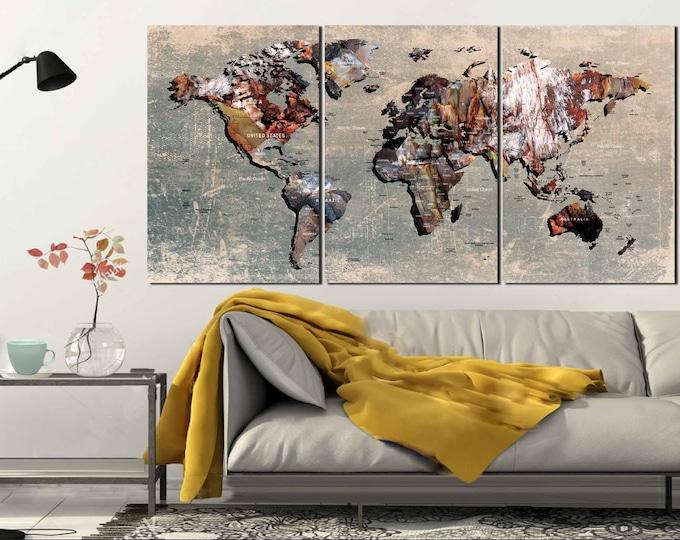 World Map,World Map Wall Art,World Map Canvas,Push Pin World Map,Push Pin Map,Travel Map Canvas,Large Push Pin Map,World Map Texture,Map Art
