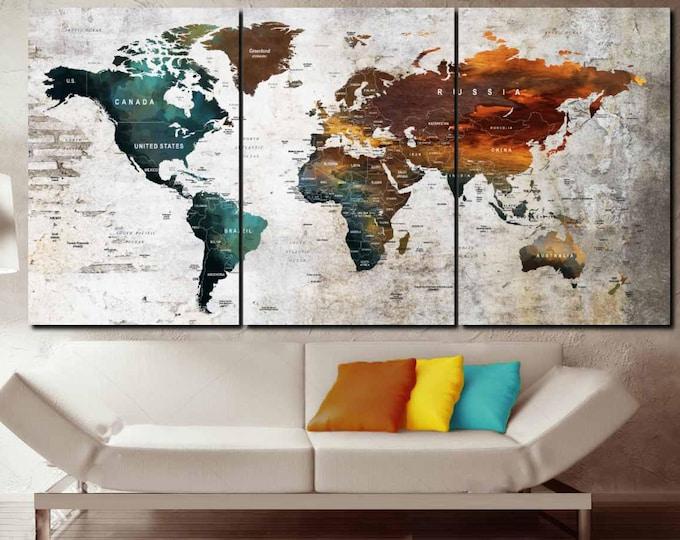 Large 3 Panel World Map Push Pin Wall Art,World Map Canvas Art,World Map Large Canvas,World Map Art,World Map Print,World Map Abstract Art