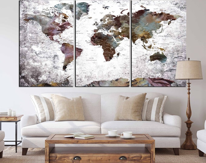 Unique design World Map set of 3 Large Canvas Print, World Map art print, world map wall art, world map canvas, pushpin map, home-office art
