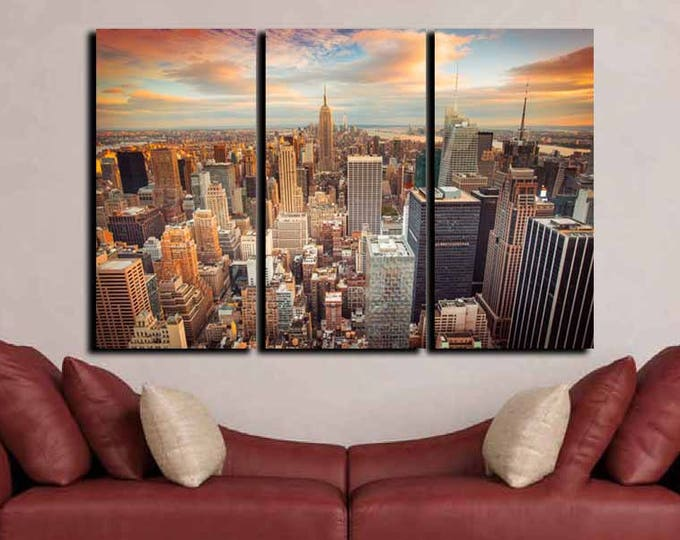 New York City Wall Art, New York Sunset,Large New York City Art, Living Room Wall Art, City Canvas Art,New York Canvas,New York City Skyline