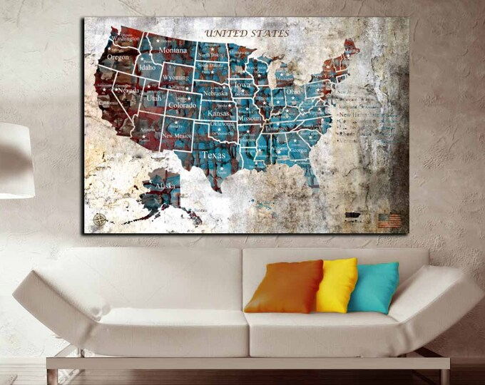US Map Push Pin Single Panel Oil Painting Art,Us Map Wall Art,US Map Canvas,Push Pin Map US,Large Us Map, Us Map Art Print,Us Map Canvas Art