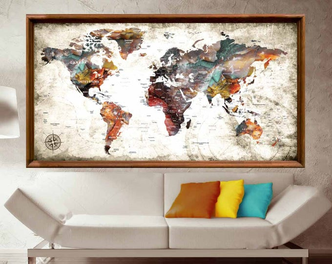 Large World Map Abstract Art Poster Print,World Map Wall Art,Push Pin Map Poster,World Map Poster,World Map Decal,World Map Art Print,Map