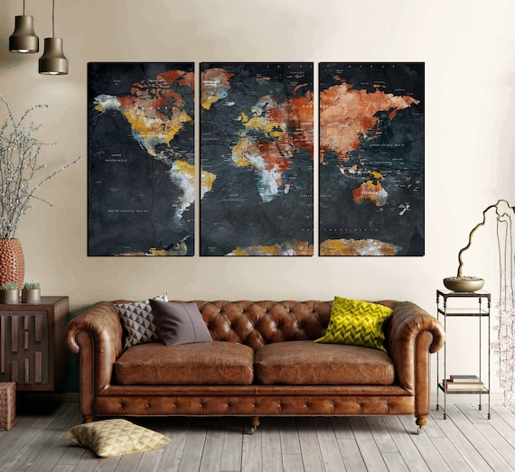 World Map Wall Art Canvas Print Push Pin Map 3 Piece Canvas Etsy