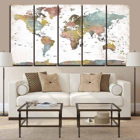 Large 5 panel world map wall artworld map push pinlarge etsy image 0 gumiabroncs Gallery