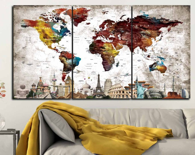 Large World Map with Seven Wonders of the World,World Map,World Map Wall Art,World Map Canvas Print,Push Pin Map Canvas Art,World Map Print