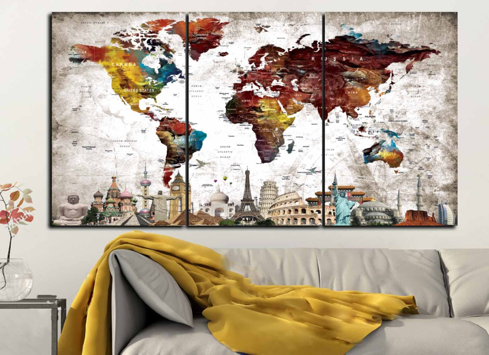Map Of World Wall Art.Large World Map With Seven Wonders Of The World World Map World Map
