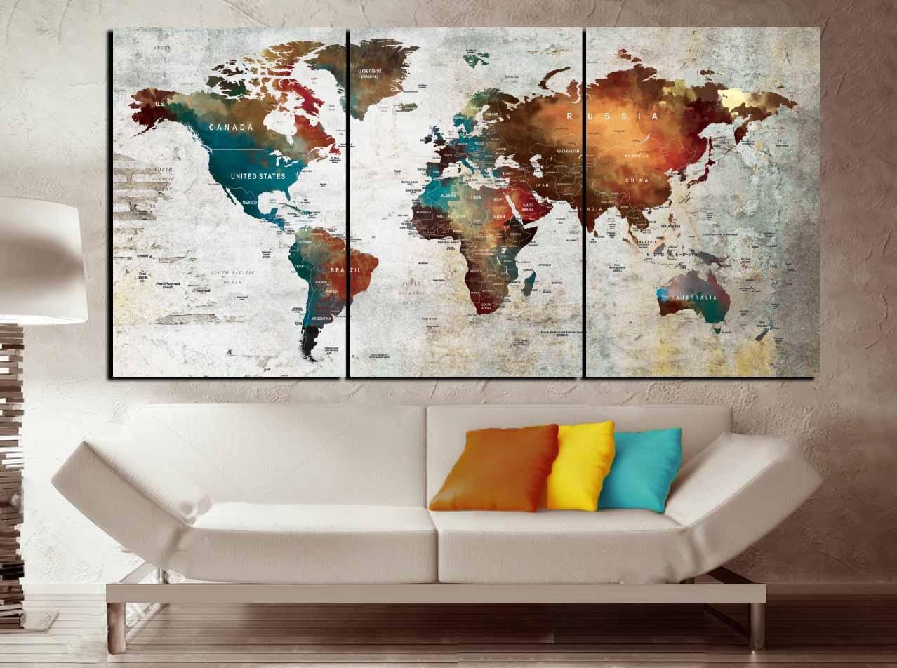Push Pin Map Canvas Wall Art,3 Piece Canvas World Map,World Map Wall Art,World  Map Canvas Print,World Map Abstract Art,Word Map Art Print