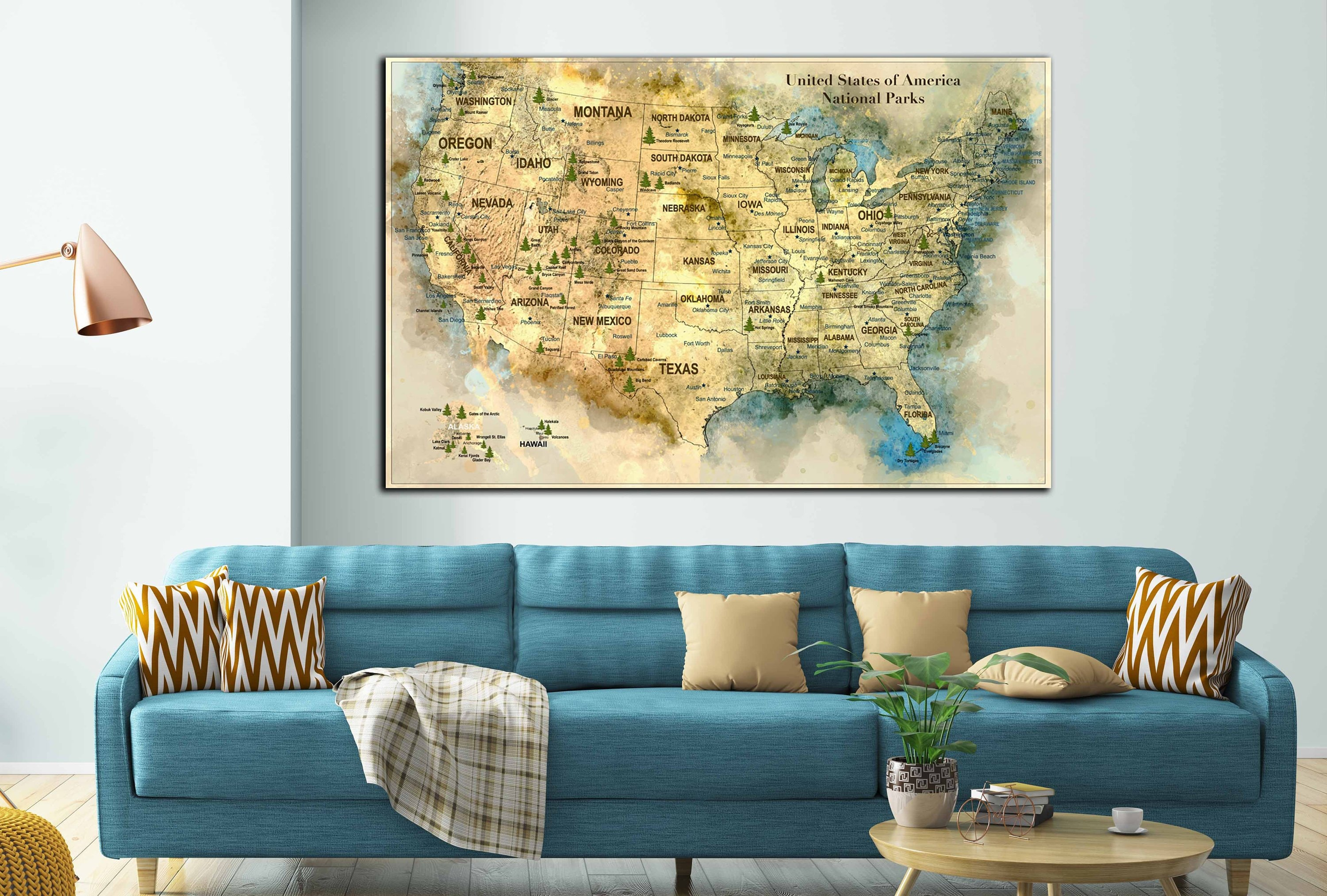 US map with national parks and cities, United States ...