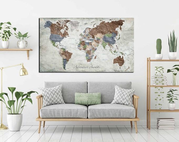 world map large, world map push pin, world map wall art, world map canvas, world art, world map poster, push pin map large, push pin map art
