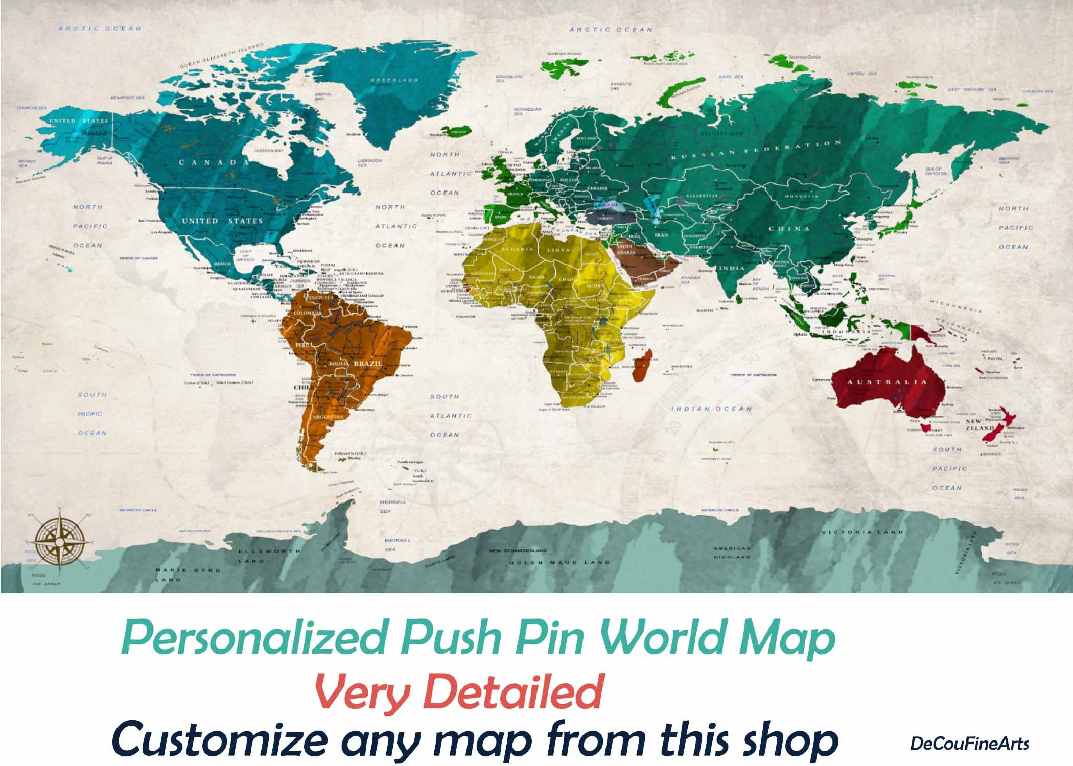 World Map,Push Pin World Map,Detailed World Map,World Map Canvas ...