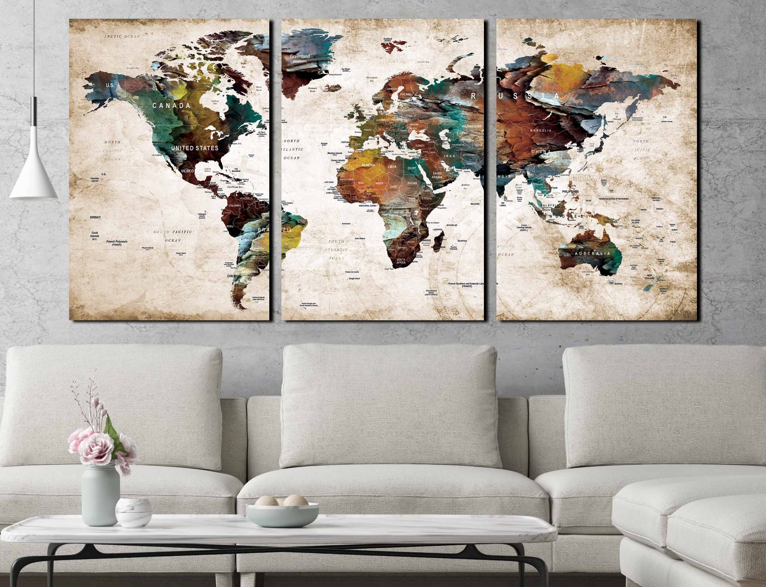 3 Piece Canvas World Map.Large World Map Canvas Print 3 Panel Ready To Hang World Map Wall