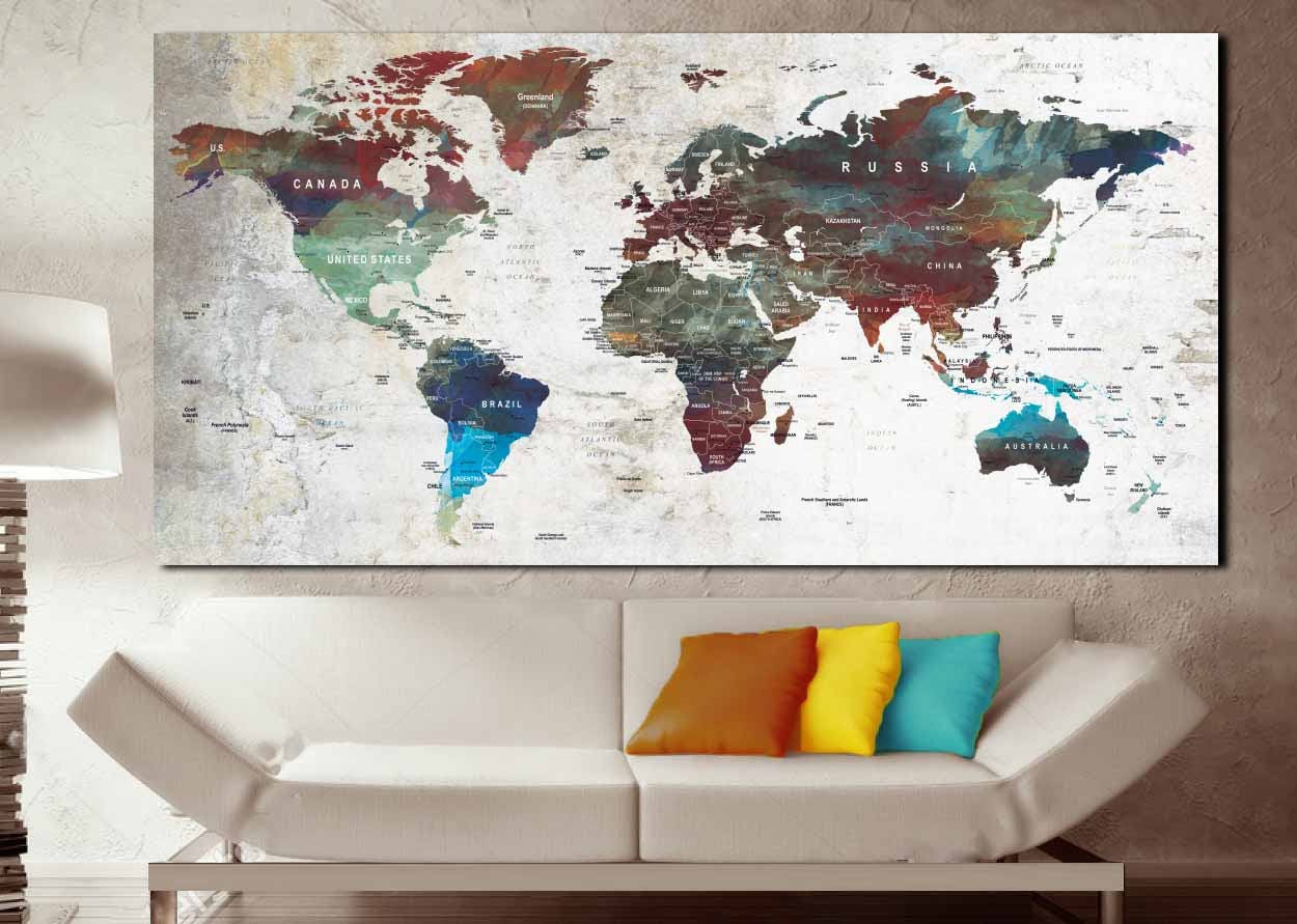 push pin mapworld map posterworld map canvaswatercolor world maplarge world mapworld map wall artworld map abstractworld map push pin