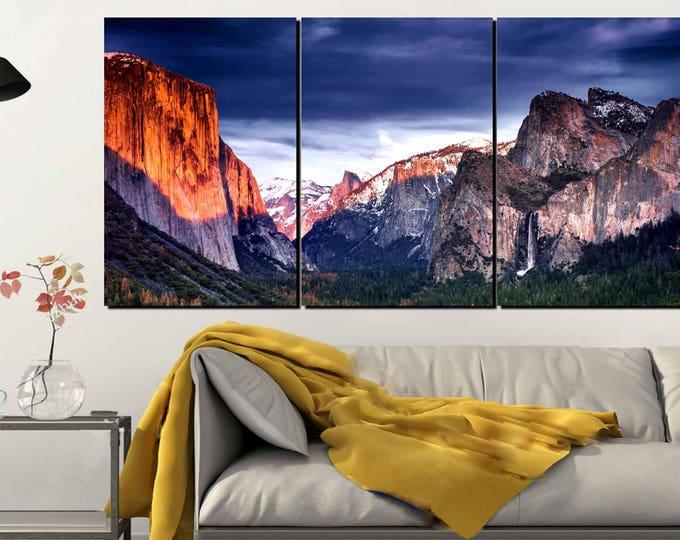 Yosemite National Park Sunset Large Canvas Art,Yosemite Valley Wall Art,El Capitan Sunset Wall Art,Yosemite El Capitan Art,Yosemite Wall Art