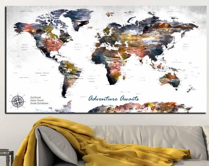 Highly Detailed Push Pin Map Canvas Print,Push Pin Map Large Canvas Panel,World Map Wall Art,Personalized World Map,Custom Travel Map Canvas