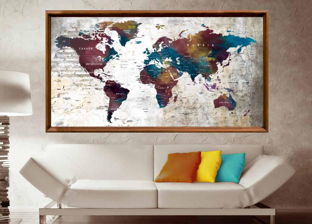 Large World Map Poster World Map Wall Art World Map Decal Push Pin Map Poster Push Pin Map Art World Map Print World Map Wall Decal Map Art