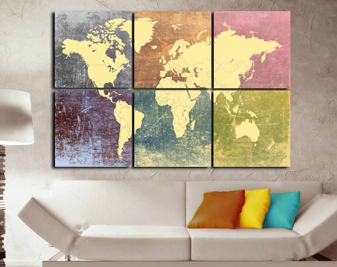 World Map Colorful Decorative 6 Canvas Panels,World Map Large Wall Art,World Map Decorative Art Canvas Print,World Map Canvas Art Home Decor