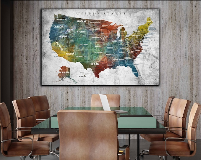 US map art, US map canvas, US push pin map, United States map, United States map art canvas print, Us map print, Us travel map, America map