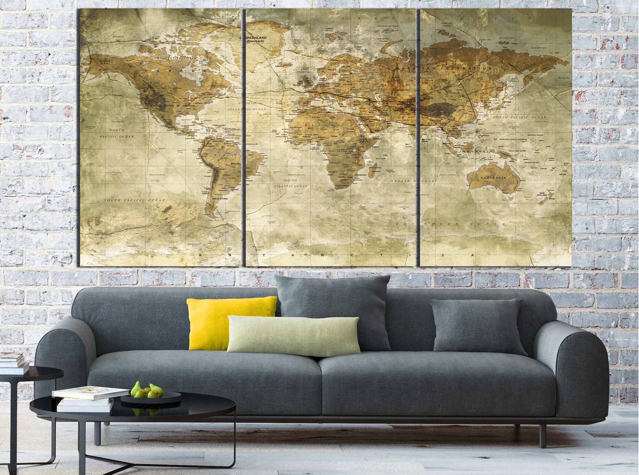world map vintage world map wall art world map canvas world map art ...