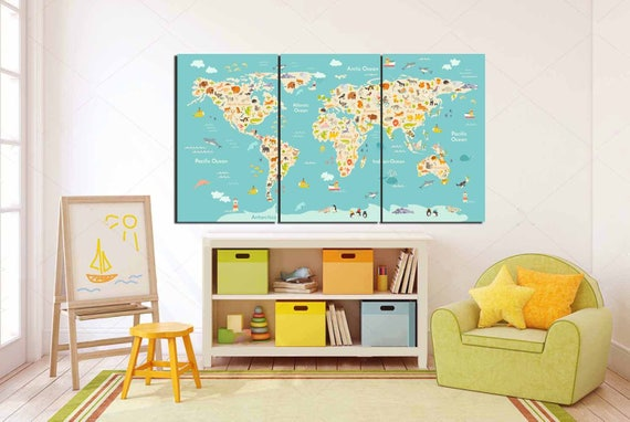 World map kidsLarge Animal Map Kids room art Kids Wall Art | Etsy