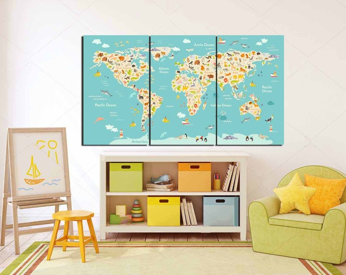 World map kids, kid room wall art, Kid room art, Kids Wall Art, Nursery room art,Play Room,School Map,Kids Library Map,Animal Blue World Map