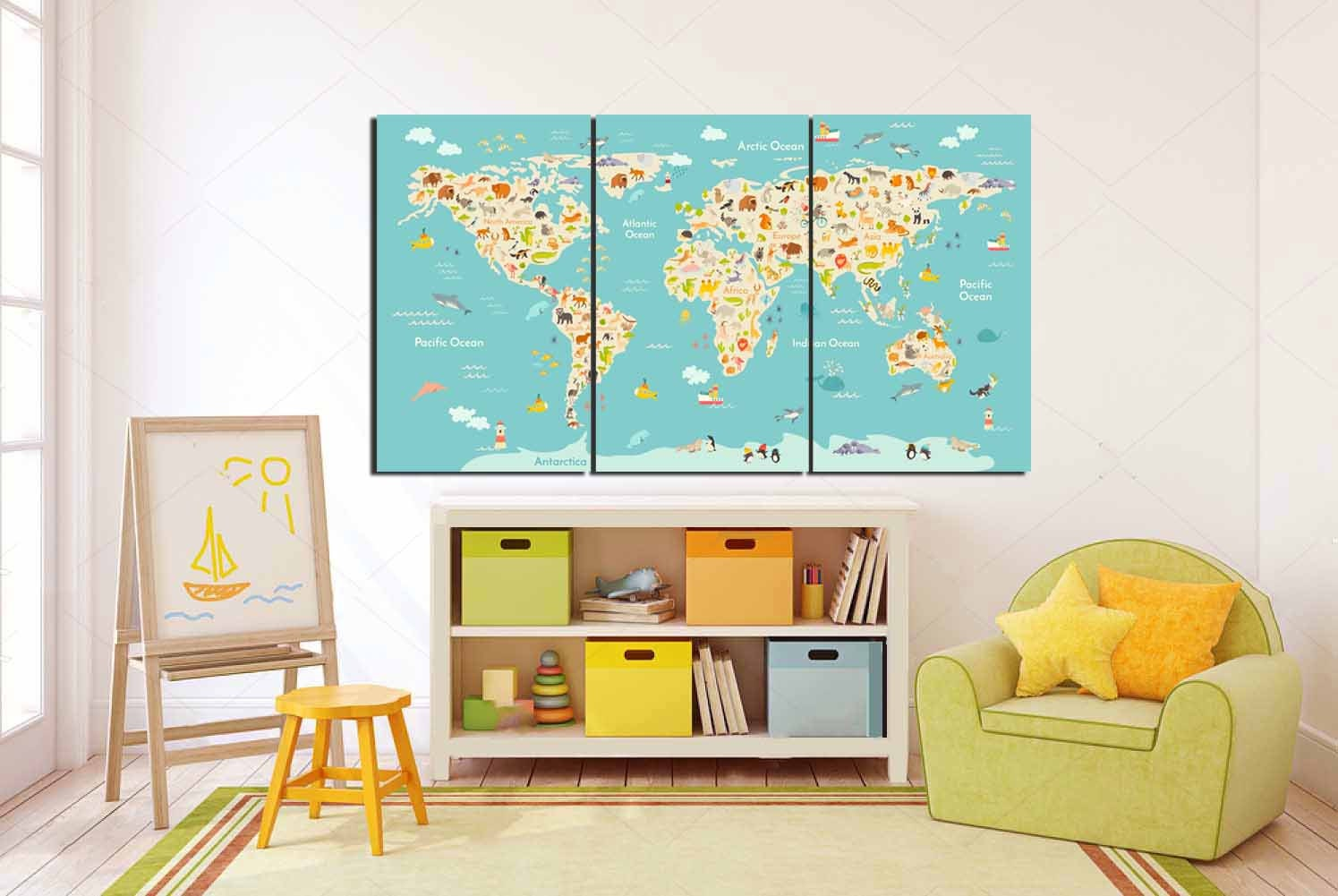 World Map Kids, Kid Room Wall Art, Kid Room Art, Kids Wall Art, Nursery Room  Art,Play Room,School Map,Kids Library Map,Animal Blue World Map
