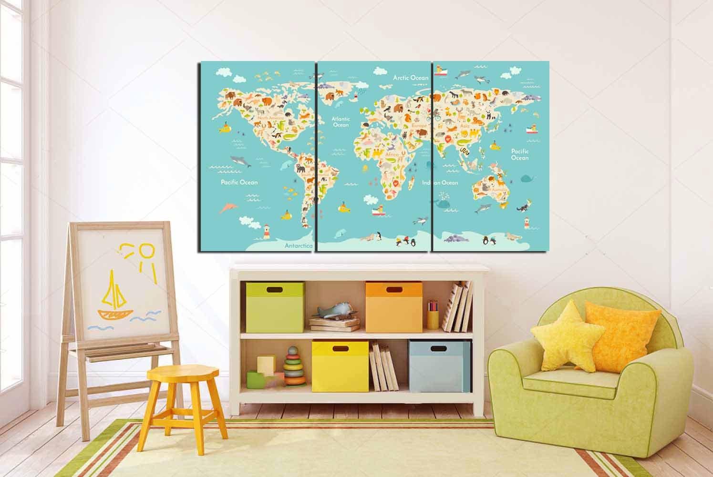 World map kids, kid room wall art, Kid room art, Kids Wall Art ...