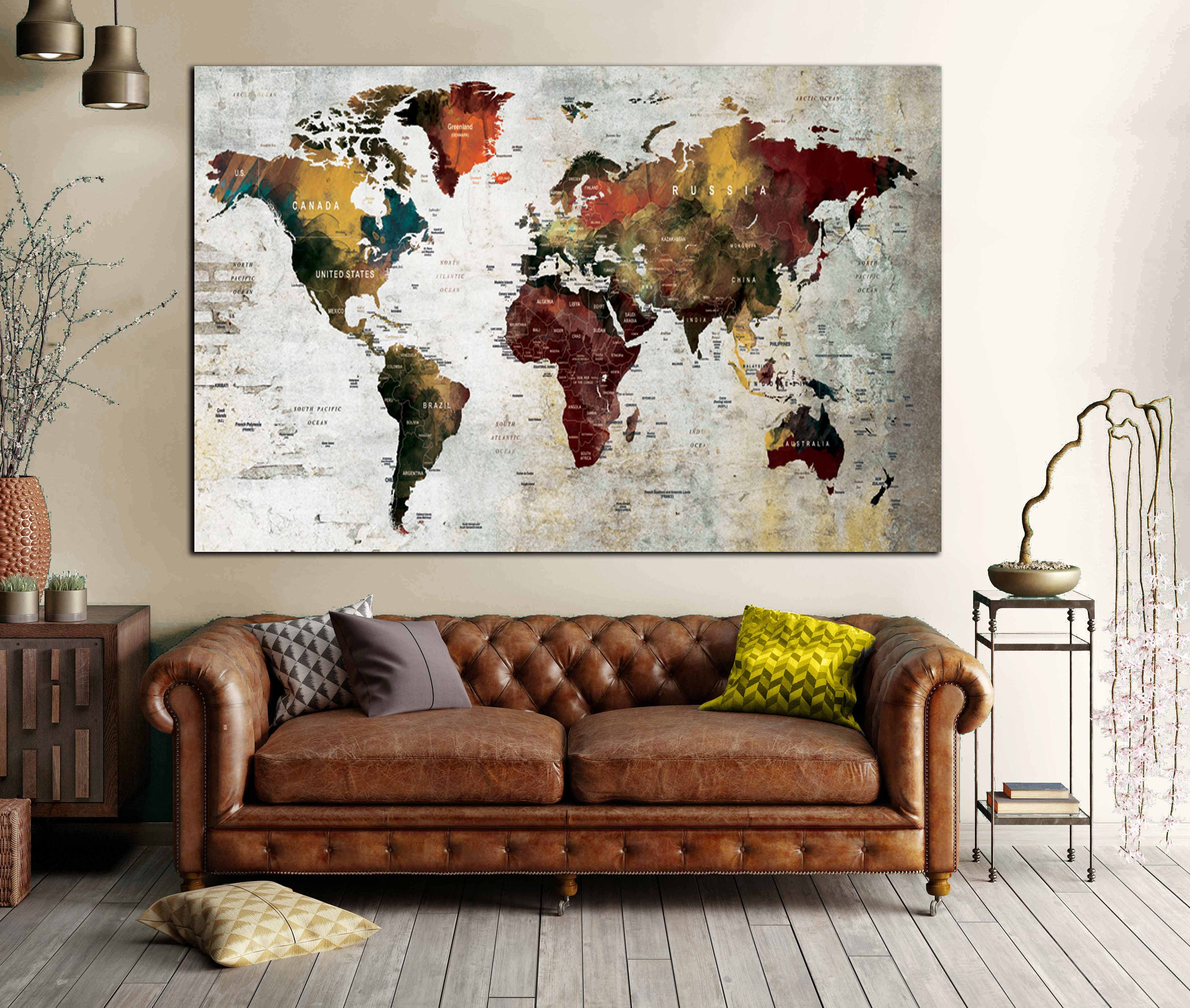 World map wall artworld map canvaslarge world mapworld map art world map wall artworld map canvaslarge world mapworld map artworld maptravel mappushpin map world map abstractworld map custom print gumiabroncs Images