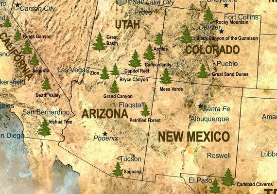 US map art canvas print ready to hang, US push pin map watercolor art, USA  map large, United States map canvas print, Us map art print, Us