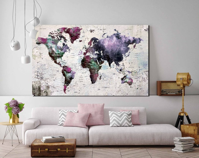 Personalized world map, kids' room world map, nursery room world map art, world map canvas, push pin map, world map wall art world map print