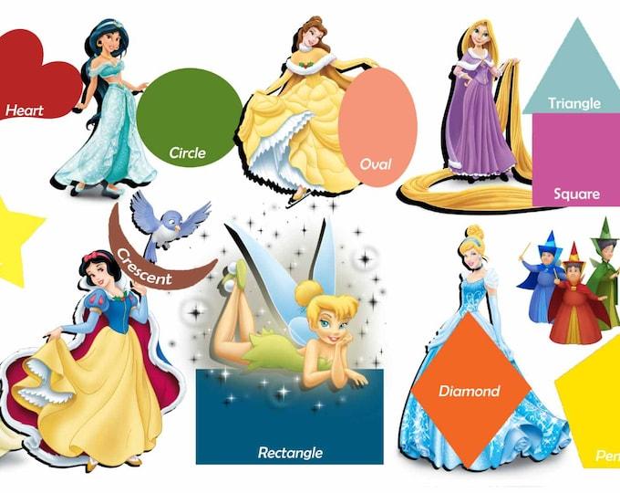 Kids Room Art,Kids' Room Educational Art,Disney Princess and Geometrical Shapes,Kids' Room Wall Decal,Kid's Room Shapes,Kids' Learning Art