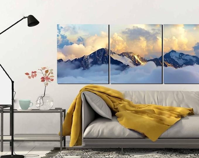 Himalaya Mountain Art, Mountain canvas print,Foggy Mountain Wall Art,Mountain Art Print, Large Mountain View,Canvas Art Print,Hand Made Art