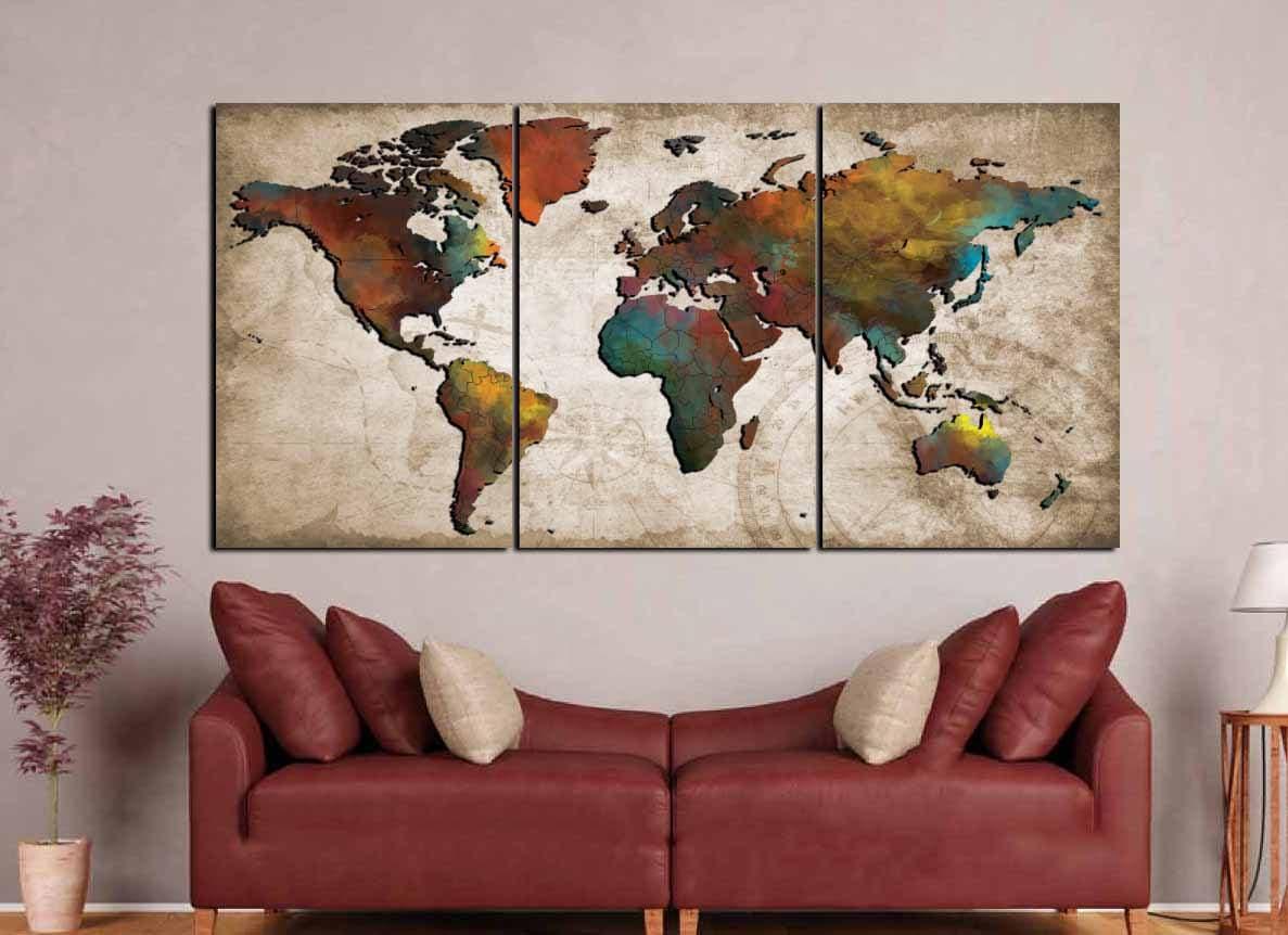Colorful World Map Art.World Map Wall Art Abstract Push Pin Map Colorful World Map World