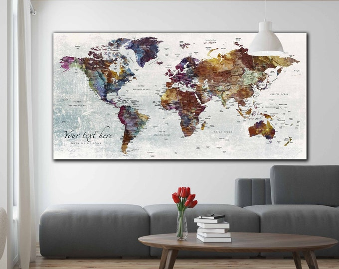 World map, World map large, World map art, World map canvas, World map Print, Xmas gift for travelers, Push pin map print, Travel map canvas